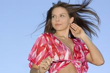 Free Attractive Brunette Woman On Sky Background Stock Photos - 5216533