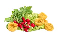 Macaroni, Radish And Lettuce Royalty Free Stock Image