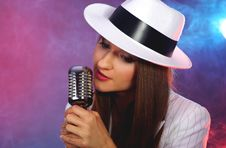 Free Retro Portrait In White Hat Royalty Free Stock Image - 5217506