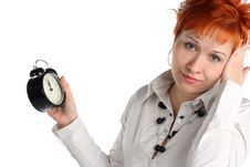 Free Business Woman With Clock. Stock Photography - 5218162