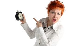 Free Business Woman With Clock. Royalty Free Stock Images - 5218989
