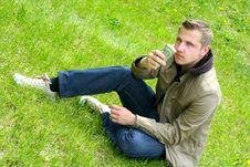 Free Man On Green Grass Royalty Free Stock Image - 5219026