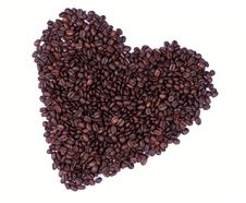 Free Heart Made Of Coffee Beans Royalty Free Stock Photography - 5219327