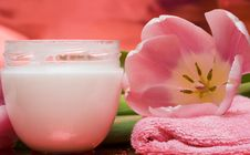 Free Cream, Towel With Flowers Stock Photo - 5219370