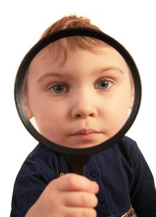 Free Child Look Through Magnifier Royalty Free Stock Image - 5219666