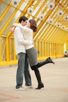 Free Young Couple On Footbridge Stock Image - 5219851