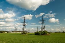 Free Powerlines Under Clowdy Sky Stock Photography - 5219932