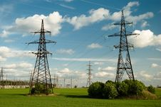 Free Powerlines Under Clowdy Sky Stock Photo - 5219940