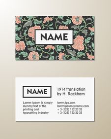 Free Vector Floral Visit Card Template Stock Image - 52120501