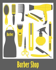Free Barber Shop Icons Set Royalty Free Stock Image - 52165116