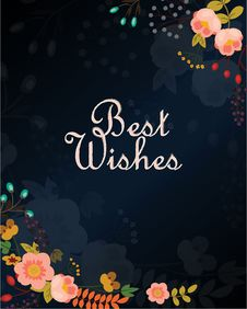 Free Best Wishes Vector Card With Flowers Stock Photography - 52166512