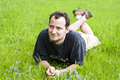 Free Young Man Laying In Grass Royalty Free Stock Photos - 5224508
