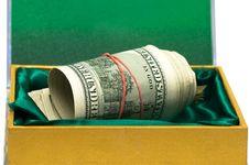 Many Money In Green Box Royalty Free Stock Photos