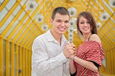 Free Young Couple On Footbridge Royalty Free Stock Photo - 5220555