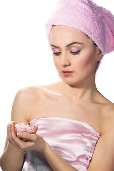 Free Woman Wearing Pink Towel Stock Images - 5220754