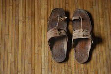 Free Worn Sandal On Bamboo Mat Royalty Free Stock Images - 5220999
