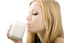 Free Blonde Drinks Milk Stock Images - 5221804