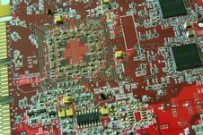 Free Red Circuit Board Stock Photography - 5222152