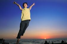 Free Jumping In Tropical Sunset Stock Image - 5222421