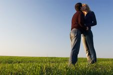 Free Kiss In The Field Stock Photography - 5222602
