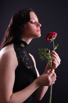 Free Woman With Rose Royalty Free Stock Photo - 5223475