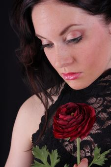 Woman With Rose Royalty Free Stock Images