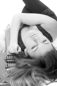 Free Lady With A Guitar Stock Photo - 5223580