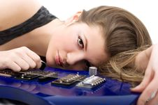 Free Lady With A Guitar Stock Photo - 5223770