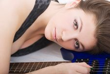 Free Lady With A Guitar Royalty Free Stock Image - 5223896