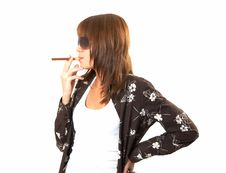 Free Girl Smoking A Cigar Stock Photos - 5223903