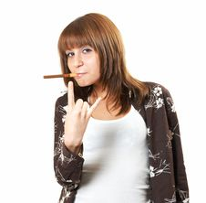 Free Girl Smoking A Cigar Royalty Free Stock Photo - 5223945