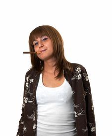 Free Girl Smoking A Cigar Royalty Free Stock Photos - 5223958