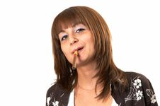 Free Girl Smoking A Cigar Stock Image - 5223971