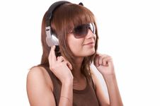 Free Girl In Brown With Headphones Royalty Free Stock Photos - 5224068