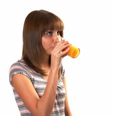 Free Girl Drinking Juice Stock Images - 5224074