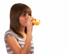 Free Girl Drinking Juice Royalty Free Stock Photos - 5224088