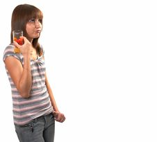 Free Girl Drinking Juice Stock Photos - 5224093