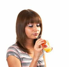 Free Girl Drinking Juice Stock Image - 5224101