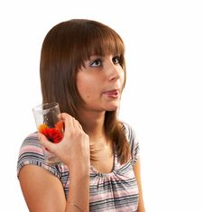 Girl Drinking Juice Stock Image