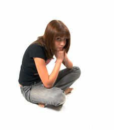 Free Girl In A Black Vest Sits On A Floor Stock Image - 5224151