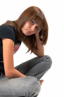 Free Girl In A Black Vest Sits On A Floor Stock Images - 5224214