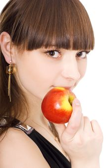 Free Lady With Apple Stock Photography - 5224252