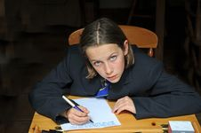 Free School Gir At Desk Stock Photography - 5224552