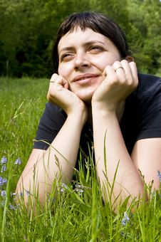 Free Young Girl Laying In Grass Stock Images - 5224564