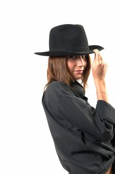 Free Girl In A Black Shirt And A Cowboy S Hat Royalty Free Stock Photos - 5224618