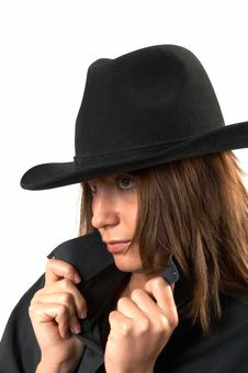 Free Girl In A Black Shirt And A Cowboy S Hat Stock Image - 5224631