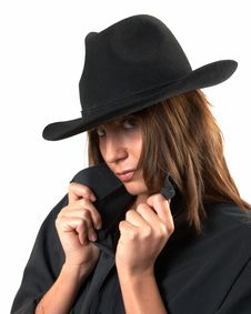 Free Girl In A Black Shirt And A Cowboy S Hat Stock Photography - 5224642