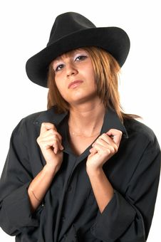 Free Girl In A Black Shirt And A Cowboy S Hat Stock Photography - 5224682