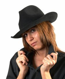 Free Girl In A Black Shirt And A Cowboy S Hat Stock Photo - 5224730