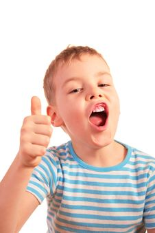 Free Boy With Finger Up Royalty Free Stock Photography - 5224747